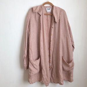 Flax buttoned down rose jacket 100% linen sz:2X